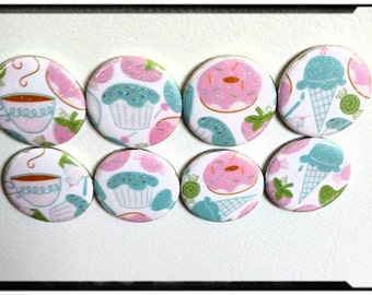 Set of eight, sweet treats magnets!
