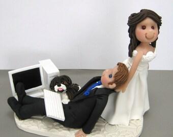 DEPOSIT for Custom made Bride dragging Groom Polymer Clay Wedding Cake Topper