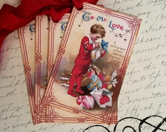 Victorian Valentine Tags - Boy Valentine Tags - To My Love Valentine Tags - Set of 4