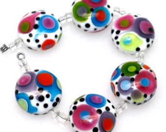 Pearly (6) white with colorful dots lampwork beads SRA Made to order