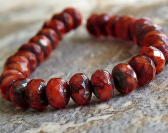 Lava Red Orange Czech Glass Picasso 5x3mm Bead Faceted Rondelle : Full Strand Rondelle