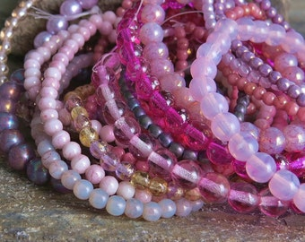 Czech Glass Bead Purple, Pink, Red Druk Mix  : 5 Full Strands