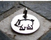 ON SALE Silver Pig Charm, PMC Fine Silver, Animal Themed Jewelry