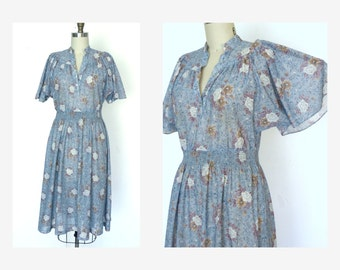 Vintage 70s Dress 1970s Flutter Sleeve Dress Sheer Blue Floral Dress Sz L