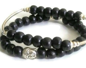 Black wood Buddha Bead meditation bracelet set