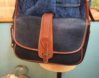Dooney and Bourke Bag Classic AWL Crossbody  British Tan   Leather  Saddle Flap Messenger Purse old logo
