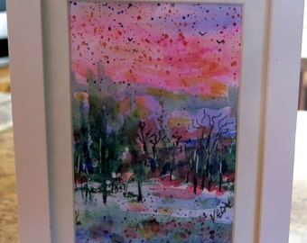 original watercolor painting-  Snowy Sunset   -  Vadal
