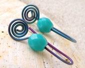 Hypoallergenic Earrings for Sensitive Ears - Pure Titanium Earrings - Czech Glass Dangle Earrings - Purple Earrings - Drop Earrings