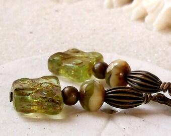 Bead Jewelry - Boho Earrings - Handmade Earrings - Green Earrings - Dangle Earrings - Hypoallergenic Earrings - Titanium Earrings