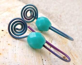 Titanium Girl's Earrings - Hypoallergenic - Turquoise Earrings - Gift Idea - Pure Titanium Earrings -  Drop Earrings - Modern Earrings