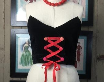 Sale 1950s bustier black top strapless top size medium vintage bra top crop top Burlesque top velvet top vintage costume 34 bust