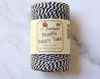Black and White Baker's Twine, Thick Craft Twine, 10 ply twine, Stripe Twine, Gift Tag Twine