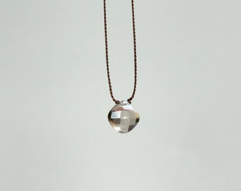 Smokey Quartz Necklace/Cord Necklace/Elegant and Simple Jewelry