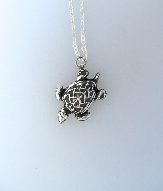 Happy Sea Turtle Metal Clay Necklace-Vegan Necklace-Vegan Gift-Metal Clay Jewelry-Sea Life-Save the Turtles