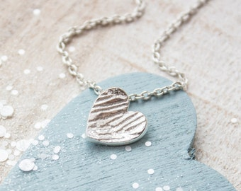 Silver Heart Necklace - Heart Pendant, Simple Dainty Jewellery, Textured Heart, Valentines Day Gift, Bridesmaid Gift, Gift for Loved One