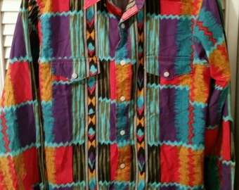 Vint. Wrangler Shirt,Tribal Shirt, Unisex Shirt, Cowboy,Womans Blouse,Southwest Shirt,Native American Shirt,Tribal Shirt,Blouse,Western