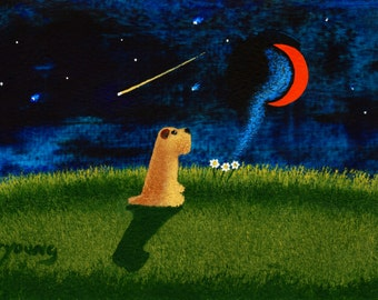Soft coated Wheaten Terrier Dog Art PRINT Todd Young painting CRESCENT MOON
