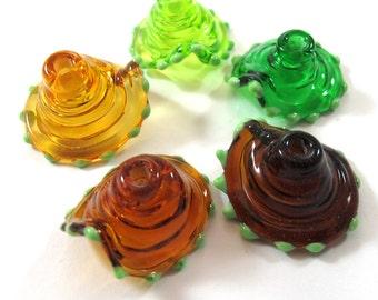 Lampwork beads glass set, Lampwork Beads set, lampwork beads - Spanish Dancer Bells, amber (5) SRA