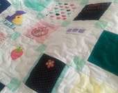 "Reserved for Cari BABY CLOTHES Quilt Heirloom Memory Quilt Custom Order 58"" x 66"" - Using Your Baby Clothes"