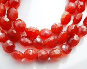 Half strand,  Red Orange Agate Faceted Oval Beads, 10x8x4MM