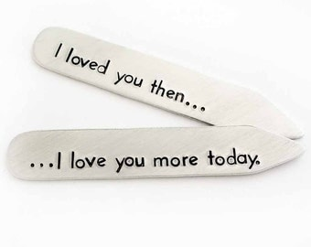 Collar Stays, Personalized Set of Collar Stays, Gift for Him, Handstamped Shirt Collar Stay, Aluminum Collar Stays