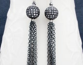 pave earrings, tassel earrings, statement earrings, tassel jewelry, cz pave earrings, holiday earrings, sterling silver,gift for her
