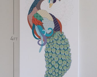 Peacock Print - 2x4 foot on canvas, art for home, office, or creative space