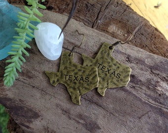 Antique brass Texas lone star state earrings