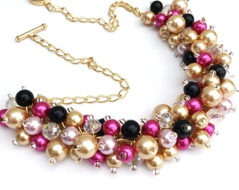 Hot Pink Pearl Necklace, Gold and Black Pink Bridesmaids Jewelry, Cluster Necklace, Chunky Necklace, Bridesmaids Gift, Pearl Wedding Jewelry