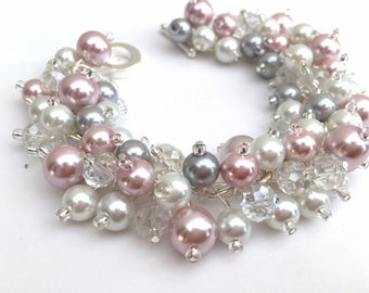 Pink White and Gray Pearl Bracelet, Bridesmaid Jewelry, Bracelet for a Wedding, Cluster Bracelet, Pearl Beaded, Blush Bracelet White Jewelry