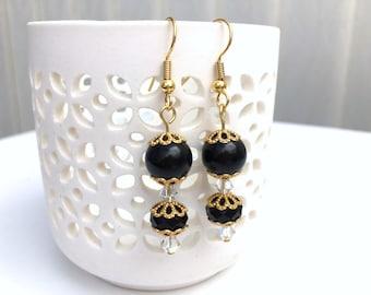 Black Pearl Earrings, Bridesmaid Earrings, Jewelry For Bridesmaids, Black Beaded Earrings, Wedding Jewelry, Dangle Earrings Crystals