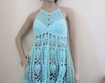 Crochet Dress, Pastel Blue dress, beach cover up, festival clothing, festival dress, bohemian princess, gypsy dress, Bohemian dress