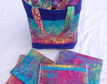 Rainbow batik lunch bag set. Includes waterproof, reusable zippered sandwich & snack bags, and cloth napkin