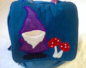 Gnome and mushrooms child's backpack in tile blue corduroy