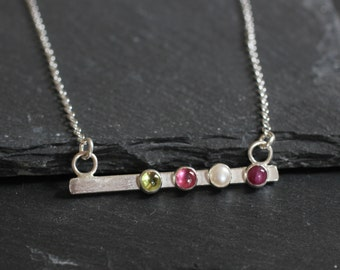 Delicate Birthstone Necklace; Sterling Silver Bar Necklace