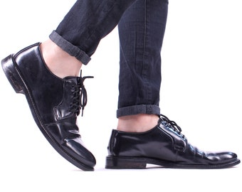 LLOYD BLACK Derby 90s Mens Leather Shoes  Lace up Made In Germany Vintage Oxford European Wedding Shoe Men Gift Eur 44 Us men 10 Uk 9.5