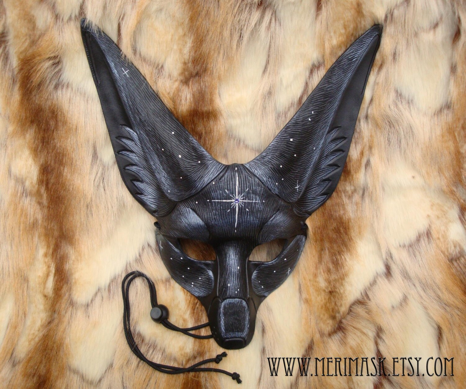 MADE TO ORDER Starlight Fennec Fox Leather Mask ...handmade