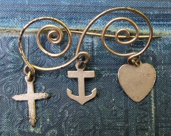 Vintage Pin Faith Hope Charity Gold Metal