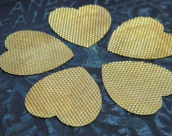 Vintage 5 Brass Stamping Textured Hearts