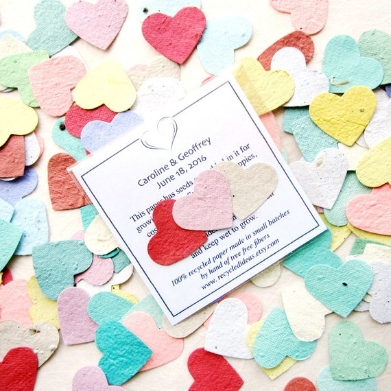10+ Plantable Hearts Wedding Favors Custom Printed Flower Seed Envelopes - Plantable Paper Hearts Packets