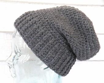 Men's Teen Small Unisex Gray Wool Winter Beanie Slouch Hat