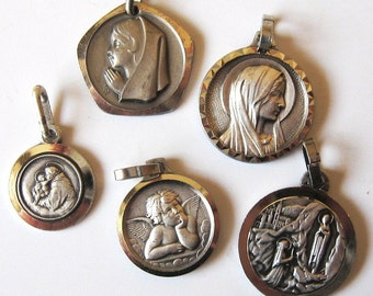 Antique Religious Medals 5 Silver 60s 70s Banneux Lourds St Anthony Cherub Angel Pendant Medal Charm