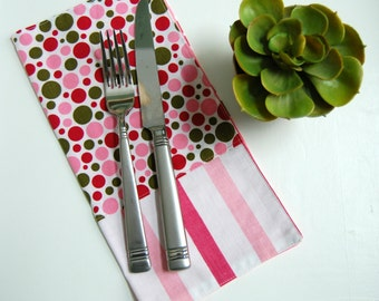 Dotty Modern Reversible Cloth Napkins / pink and green kitchen / polka dot napkins / striped bistro napkins / Valentines Day gift for her