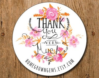 Customized Stickers - Pink Floral Roses Flowers  - Labels - Wedding - Birthday Party - Thank You Stickers | #079
