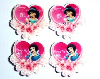 Set of 4 Princess Snow white Jasmine resin hair bow craft center planar resin