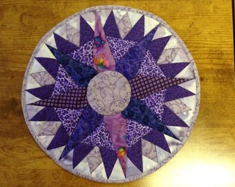 candle matt hotpad quilted decor compass star purple