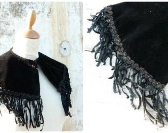 Vintage Antique 1850/1900 Victorian French capelet scarf black velvet jet beaded trim and fringes