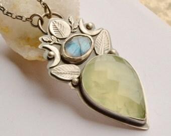 Prehnite Necklace Handmade in Silver, Bold Metalwork, Labradorite Necklace, Handmade Artisan Jewelry, Boho Jewelry, Bohemian Style