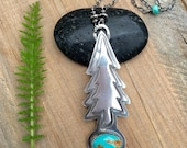 Reserved for Janet: Alacron Turquoise and Sterling Silver Evergreen Tree Necklace