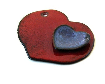 Rustic Purple and Red Enameled Heart Pendant/Focal